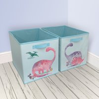 Dinosaur Twin Pack Storage Boxes Pink Purple and Green
